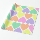 Pastel Candy Valentine Hearts Gift Wrap Paper