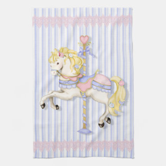 Pastel Carousel Pony Tea Towel