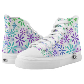 Pastel Checker Flowers Printed Shoes