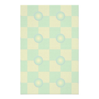 Pastel checkered and textured green yellow personalised stationery