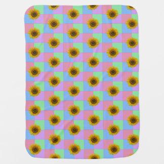 Pastel Checkered Sunflower Baby Blanket
