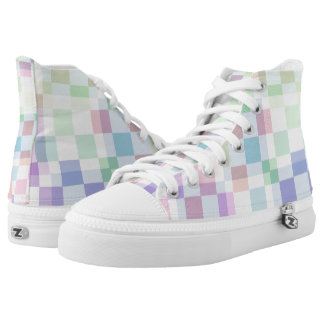Pastel Checkers Printed Shoes