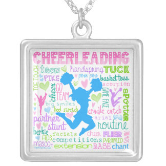 Pastel Cheerleading Words Typography Square Pendant Necklace