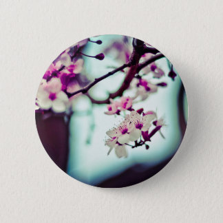 Pastel cherry blossom photo 6 cm round badge