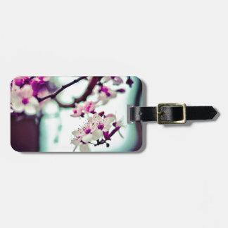 Pastel cherry blossom photo luggage tag
