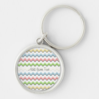 Pastel Chevron-Drop Shadow by Shirley Taylor Silver-Colored Round Key Ring