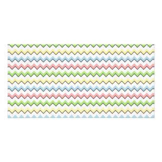 Pastel Chevron-Drop Shadow Personalised Photo Card