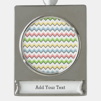Pastel Chevron-Drop Shadow Silver Plated Banner Ornament