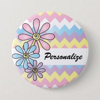 Pastel Chevron Floral | DIY Name 7.5 Cm Round Badge