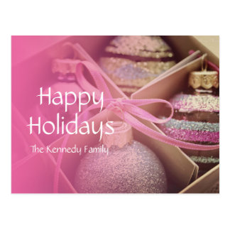 Pastel Christmas Ornaments Postcard