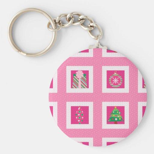Pastel Christmas Squares Key Chain