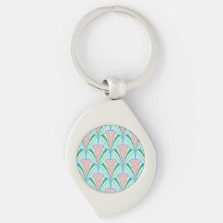 Pastel Color Art Deco Pattern Key Ring