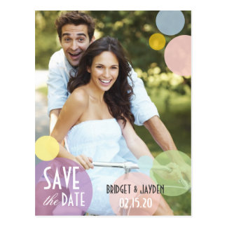 Pastel Color Bubbles Photo Save the Date Postcards