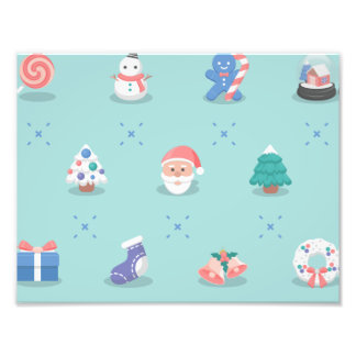 Pastel Color Christmas Characters Seamless Pattern Photo Art