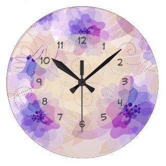 Pastel Color Floral Design Wallclocks