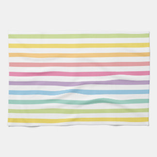 Pastel Color Rainbow Stripes Pattern Tea Towel