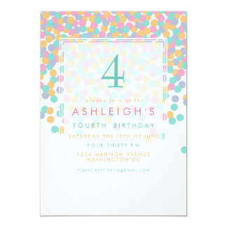 Pastel Colored Confetti | Kids Birthday Party Card