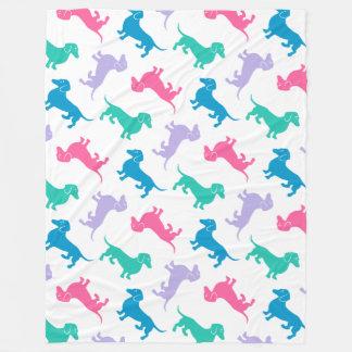 Pastel Colored Dachshunds Fleece Blanket
