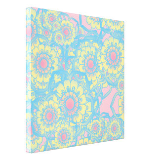 Pastel colored daisies stretched canvas prints
