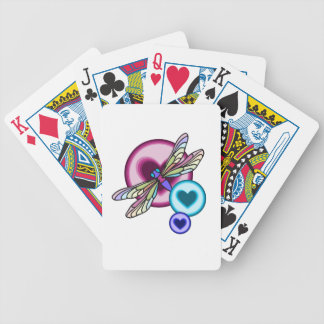 Pastel colored dragonfly with blue pink and purple bicycle playing cards