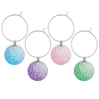 Pastel Colored Golf Balls Wine Charm