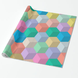 Pastel Colored Perspective Cubes Wrapping Paper