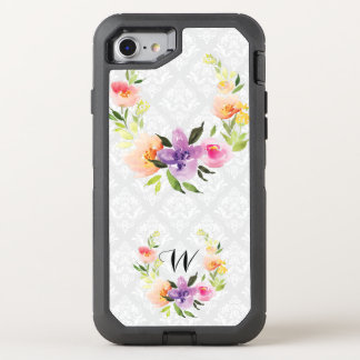 Pastel Colors Floral Wreath & White Background OtterBox Defender iPhone 8/7 Case