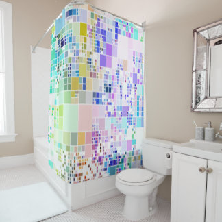 Pastel colors geometric art cool shower curtain