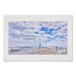 Pastel Colors Man Figure Beach Rocks Cape Poster