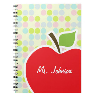Pastel Colors, Polka Dot; Apple Spiral Note Books