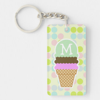 Pastel Colors, Polka Dot; Ice Cream Cone Rectangle Acrylic Keychain