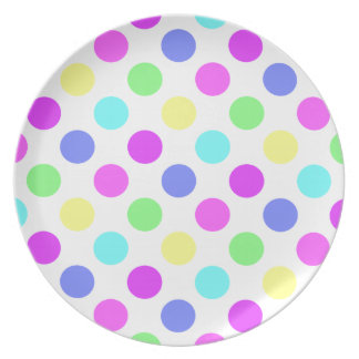 Pastel Colors Polka Dots Party Plate