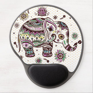 Pastel Colors Retro Flowers & Elephant Gel Mouse Pad
