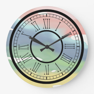 Pastel Colors Watercolor Large Clock