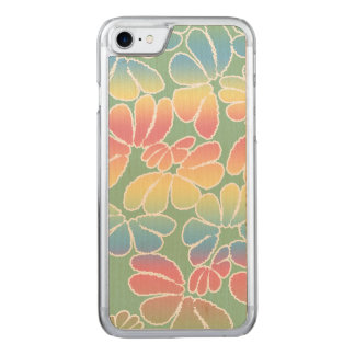 Pastel Colors Whimsical Ikat Floral Doodle Pattern Carved iPhone 7 Case