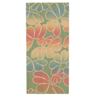 Pastel Colors Whimsical Ikat Floral Doodle Pattern Wood USB 2.0 Flash Drive