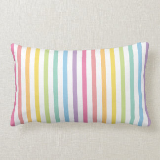 Pastel Colour Rainbow Stripes Pattern Lumbar Cushion