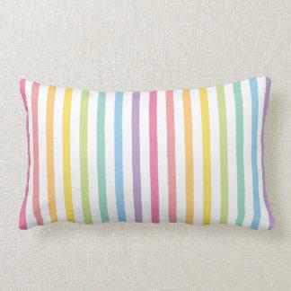 Pastel Colour Rainbow Stripes Pattern Lumbar Pillow