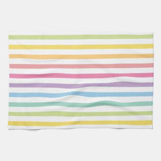 Pastel Colour Rainbow Stripes Pattern Tea Towel