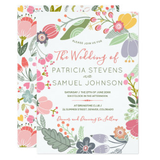Pastel colourful wildflowers meadow wreath wedding card