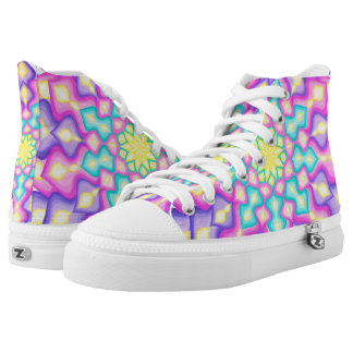 Pastel Colours Spring Blossom Mandala Pattern High Tops