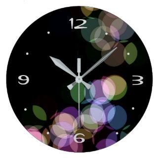 Pastel Confetti Effect on Black>  Wall Clock