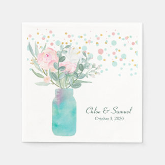 Pastel Confetti Mason Jar Wedding Disposable Napkin