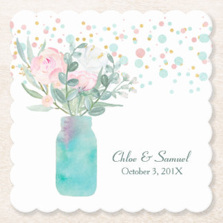 Pastel Confetti Mason Jar Wedding Paper Coaster