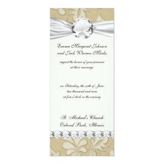 pastel cream leaf swirl damask card