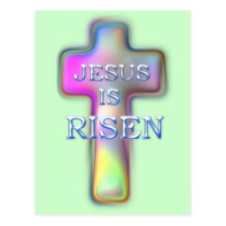 Pastel Cross-Jesus is RISEN Postcard