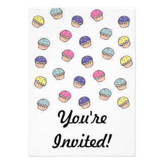 Pastel Cupcakes Pattern Custom Invitation