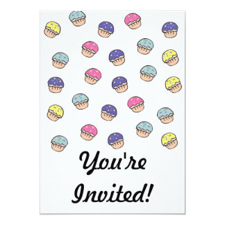 Pastel Cupcakes Pattern 13 Cm X 18 Cm Invitation Card