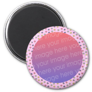 pastel cute cupcakes photo frame magnet