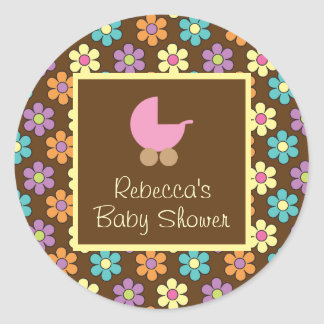 Pastel Daisy Pattern Brown with Pink Baby Carriage Classic Round Sticker